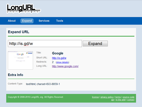LongURL.com Screen Shot
