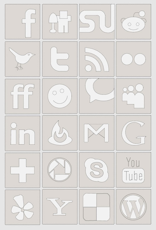 black and white facebook icon. Included in the set are 24 social media icons including Facebook, Delicious,